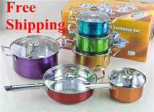 Free shipping Hot Selling Cooking Tools Colorful 12PC Of Stainless Steel Cookware Set Pots Set Cooking Pot Set Jogo De Panelas