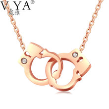 V.Ya Women Handcuffs Pendant Necklaces Jewelry 42CM Link Chain Stainless Steel Necklace for Women Jewelry Silver Rose Gold Color
