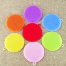 Great 1 pc Practical Silicone Kitchen Cleaner of Dish Washing Sponge Vegetable Scrubber Brush Non Stick Oil Sponge
