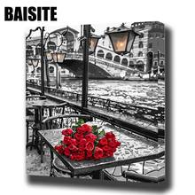 BAISITE DIY Framed Oil Painting By Numbers Flowers Pictures Canvas Painting For Living Room Wall Art Home Decor E745(China)