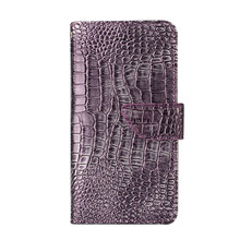 Purple Embossed Crocodile Pattern Phone Cases For iPhone 6 6S 6Plus 6SP 7 7Plus Leather Wallet Phone Shell w/ Card Slots & Stand