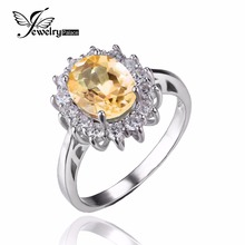 JewelryPalace Kate Princess Diana 1.8ct Natural Citrine Engagement Halo Ring 925 Sterling Silver Ring for Women Fine Jewelry
