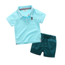 Baby boys short sleeve cotton polo t shirts shorts set high quality infant gentleman casual clothes kids sport wear 17A801(China)
