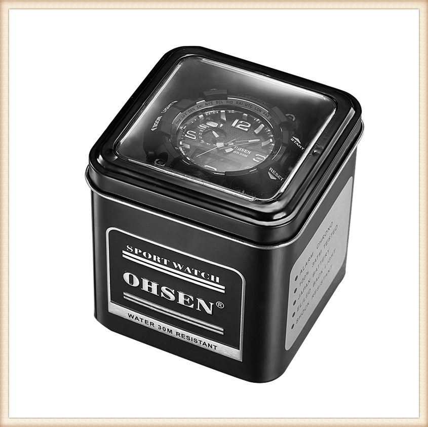 1PCS Fashion 100% Original OHSEN Watch Boxes Good Quality Protect Watch Metal Gift Box Freeshipping with OHSEN LOGO Dropshipping (23)
