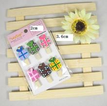 MIN ORDER is $5 (1 Lot=6 Pcs) 3.6x2cm Wood photo clip candy box shape memo Paper clips DIY scrapbooking craft home decoration(China)