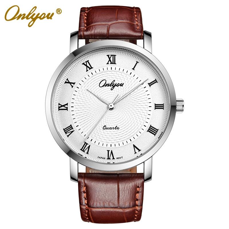 Men Watch Roman Numerals Onlyou Brand Japan Steel Quartz Leather Watch Men Women Wristwatches Relogio Masculino Feminino 81055<br>