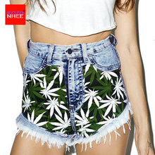 Summer Stretch 3D Leaves Patch Denim Shorts With High Waist Elasticity Pattern Bohemia Women Denim Shorts(China)