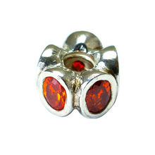 Original Orange Oval Lights Spacer Fits Pandora Bracelets Authentic 925 Sterling Silver Charm DIY Jewelry