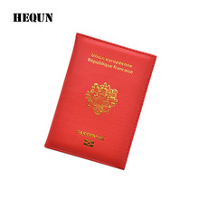 Fashion France National Emblem Passport Cover Unisex Lady Leather Passport Holder Women Travel Passport Case Passport Organizer(China)