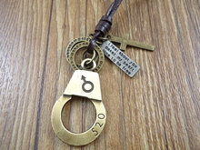 New handmade genuine leather vintage handcuffs pendant necklace for women 2015 men jewelry