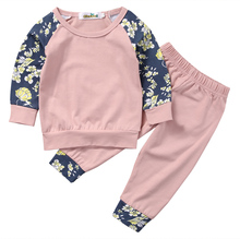 2pcs!!Casual Newborn Baby Girls Long Sleeve Clothes Pink Floral Tops T-shirt Pants Legging Cotton Autumn Winter Outfits