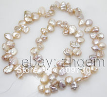 "Jewelry 0012 6-8mm natural pink peach keshi pearl loose beads 15""long strand 5.5"