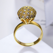 Ball rings gold color jewellery Trendy women's unique designer chinese market online cubic zirconia finger ring fashion jewelry
