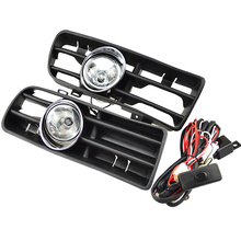 1 Set Front Fog Lights With Racing Grills & Wiring Harness Switch Fog Light Auto Accessories For VW Golf MK4 1998-2005(China)