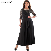 Buy COCOEPPS autumn plus size women dresses sexy lace dress big sizes patchwork long dress 2017 black women clothing 5xl 6xl vestido for $22.98 in AliExpress store