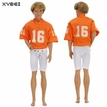 Handmade Sport Outfit Orange Rugby Jerseys Shirt White Shorts Uniforms American Football Clothes For Barbie Doll Ken Accessories