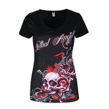 Buy 2017 Tops Summer Women'S Fashion Short Sleeve V-Neck Punk Style Skull Print T-Shirt Tee Tops Plus Size S-5XL LJ8593Y for $7.78 in AliExpress store