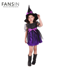 Fansin Brand Children Kids Clothes Halloween Cosplay Costume Mask Dance Performance Girls Dress+Hat Witch Garment Party 2pcs Set