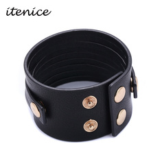 Buy Itenice Fashion Wide Black & Brown Genuine Leather Bracelet Alloy Buckle Adjustable Open Cuff Women & Men Bracelets Jewelry for $1.48 in AliExpress store