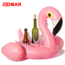 DMAR Inflatable Flamingo Giant Pool Drink Float Toys Cup Holder Swimming Ring Circle Inflatable Mattress Pool Party Water Fl(China)