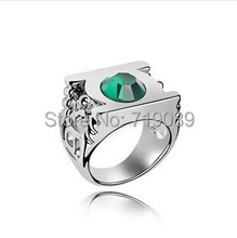 20pcs/lot Wholesale Fashion Jewelry Silver Charm Green Lantern Ring For Men And Women,original factory supply(China)