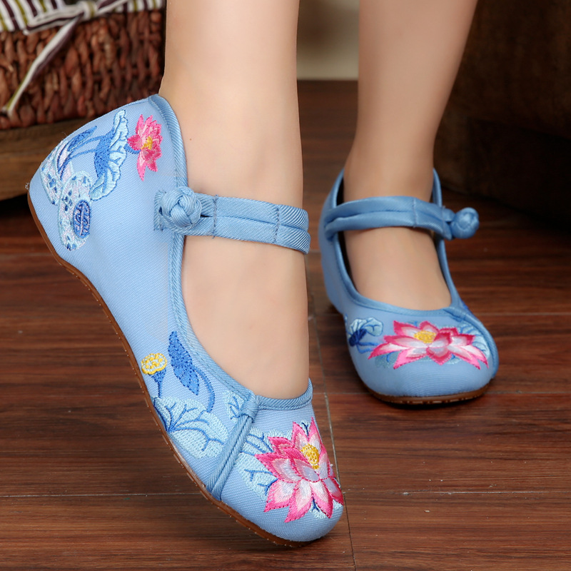 Hot Sale Summer Women Lotus Embroidery Hasp Shoes Old Peking Mary Jane Soft Sole Casual Flats Blue Dance Shoes<br><br>Aliexpress