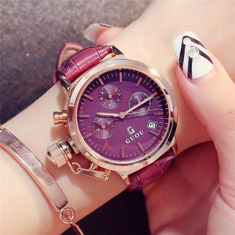 GUOU Ladies Watches 2017 Luxury Brands Casual Dress Rose Gold Watch Waterproof Leather Wrist Watches for Women zegarki damskie<br>