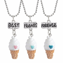 3 Pcs/set Ice Cream Pendant Necklace Resin Best Friend Forever Lovely Heart Friendship Necklaces Children Christmas Jewelry Gift