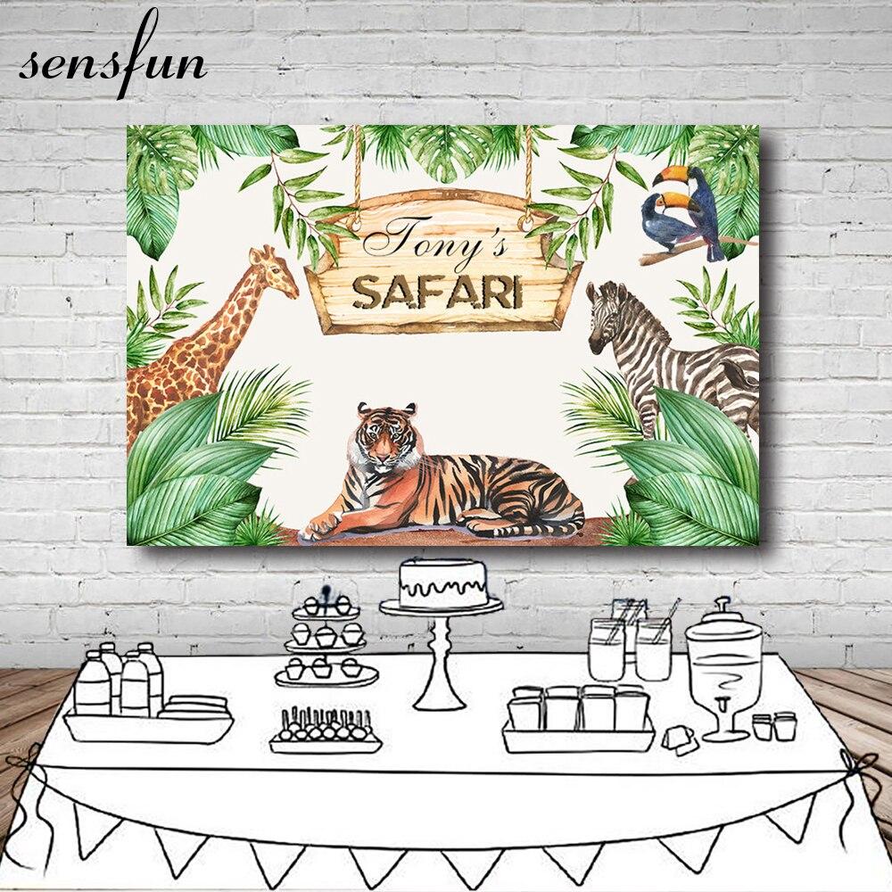 Fondo de fotografía de Cumpleaños Safari Selva mehofoto 7x5ft Vinilo Lindos Animales