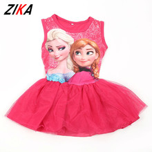 ZIKA Brand kids dress 2017 Summer Children Princess Dresses Elsa&Anna Costume Sleeveless Sundress Girl's Fashion Pinafore Dress(China)