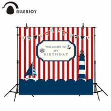 Allenjoy photography backdrops sea theme boat birthday party backdrop red and white Stripes custom camera profissional