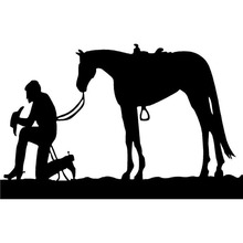 15.6cm*10cm Praying Cowboy And Horse Saddle Rope Pony Mustang Fashion Vinyl Decal Car Sticker Black/Silver S6-2787