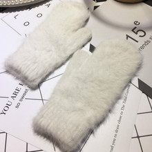 Rabbit's Hair Wool Glove Woman Fund Even Finger Glove fingerless gloves womens winter mittens(China)