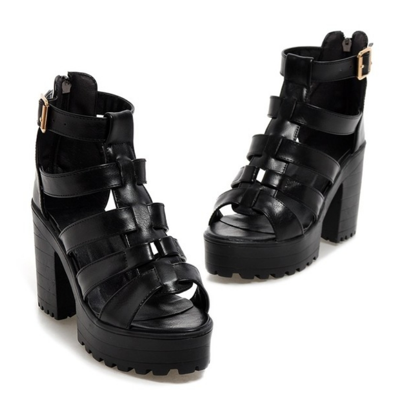 New Fashion Rome Style Shoes, Women Solid Peep Toe Gladiator Shoes, Buckle Platform Women Sandals 6