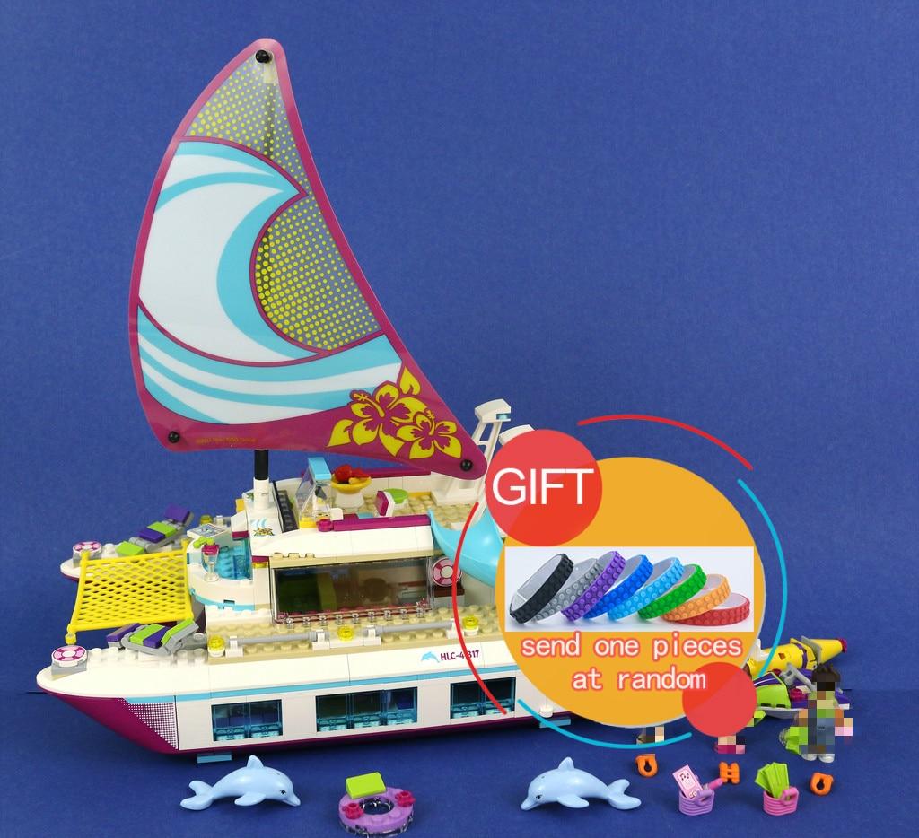 01038 651pcs Friends Sunshine Catamaran Dolphins Olivia Stephanie Girl Building Block Compatible 41317 Brick Toy lepin<br>