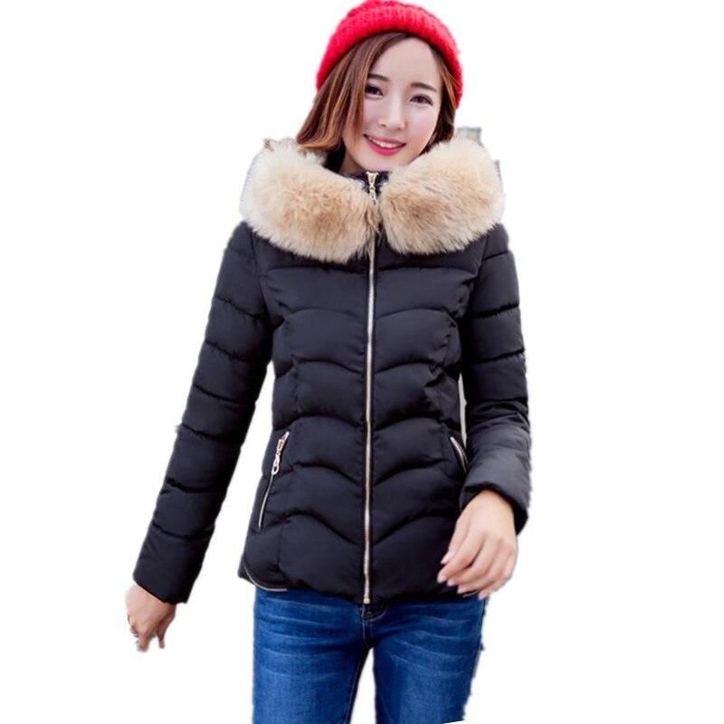 Women coat jacket winter 2017 black fashion cotton jacket coat hooded fur collar ladies parka coats thicken winter jacketsОдежда и ак�е��уары<br><br><br>Aliexpress