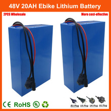 2PCS Wholesale 48 V Electric Bike battery 48V 20AH Lithium ion Scooter Battery with 30A BMS and 54.6V 2A Charger free shipping(China)