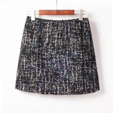 New Winter Style Small Sequins Tweed Mini Skirt Elegant High Waist Bag Hip Skirt All-match Wool Pencil Skirt Free Shipping 2018(China)