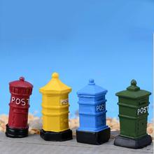 1Pc Resin Crafts Mailbox Model Postbox Mini Ornament Micro Landscape Decoration Fairy Garden Miniatures/ Home Decor(China)