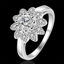 Wholesale 925-sterling-jewelry ring, silver plated flower plant beautiful fashion jewelry, Inlaid stone Sunflower Ring R151(China)