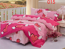 Twin Full Queen Angel Heart Polyester Bed Skirt 4Pcs Bedding Set Dust Ruffle Bedclothes Sets Duvet Cover Quilt Cover Pillowcase(China)