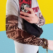 Hot 2 Pcs/lot Punk Men Women UV Sunscreen Skull Theme Fake Tattoo Sleeves Arm Warmers (Color: Multicolor) Popular(China)