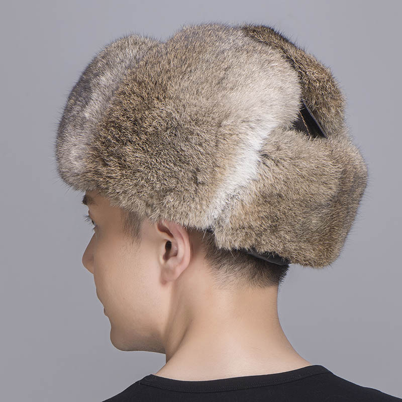 brown rabbit fur sheepskin hat 5