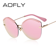 AOFLY 2017 Fashion Women Cat Eye Sunglasses Original Brand Design Sun Glasses Female Ultralight Glasses Mirror Lens UV400 AF7948(China)