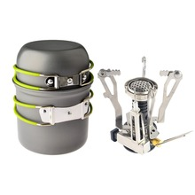 1 set Outdoor Camping Backpacking Picnic Cookware Cooking Tool Set Pot Pan and Piezo Ignition Canister Stove travel Cookware