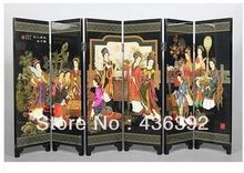 Oriental Vintage Handwork Lacquer Painted Beauty Folding Screen(China)