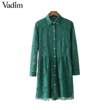 Vadim vintage sweet lace floral pleated dress long sleeve chic one piece dresses ladies casual brand retro mini vestidos QZ3246(China)