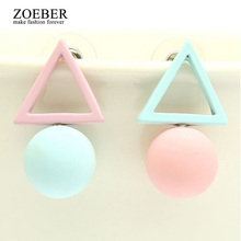 ZOEBER NEW Fashion geometry colors cube candy Crystal Stud earrings women Glass shiny Lovely lady black Korean Earings Jewelry(China)