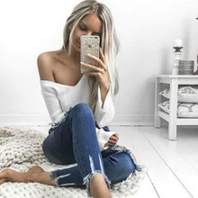 Women Casual Long Sleeve V-Neck Crop Top White Jersey 2017 Lady Pullover Knitted Sweater