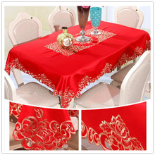 JUYANG Wedding decoration red tablecloths table runners. Rectangular polyester embroidery tablecloth. Round tablecloth. Various